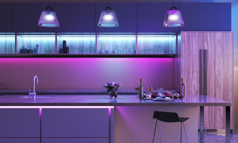 Gekleurde LED strips in de bar