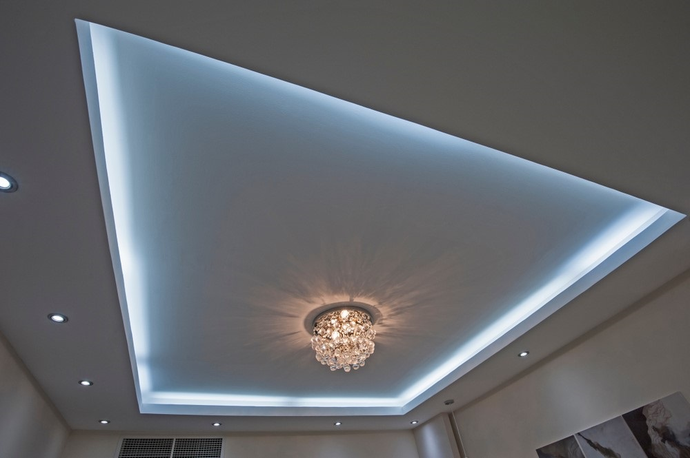 LED strip verwerkt in plafond