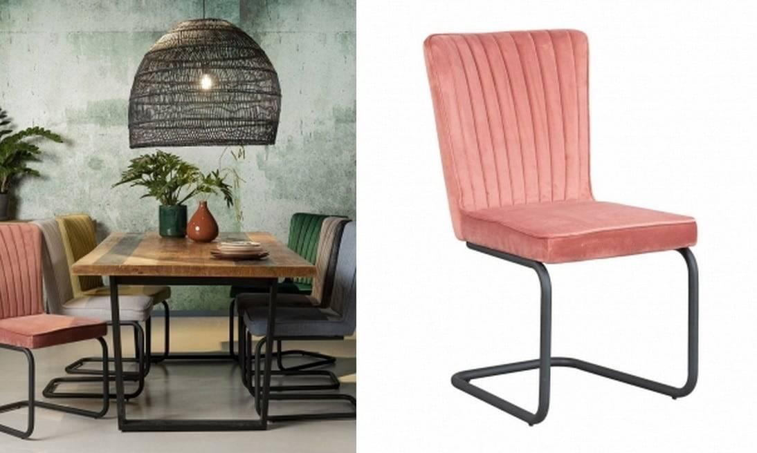 Roze velvet stoel